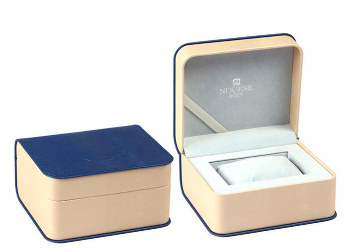 Blue Leather Twist Single Watch Box Ribbon Material Custom Logo Color High Grade