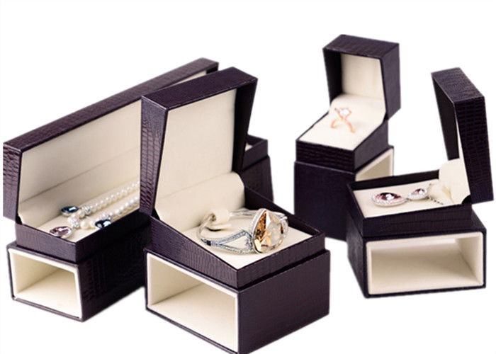 Custom Luxury Leather Jewelry Box Velvet Inside Durable For Presentation Gift