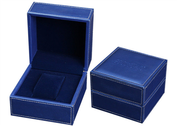 Blue Leather Wooden Watch Jewelry Box , Elegant Style Ladies Watch Case Box