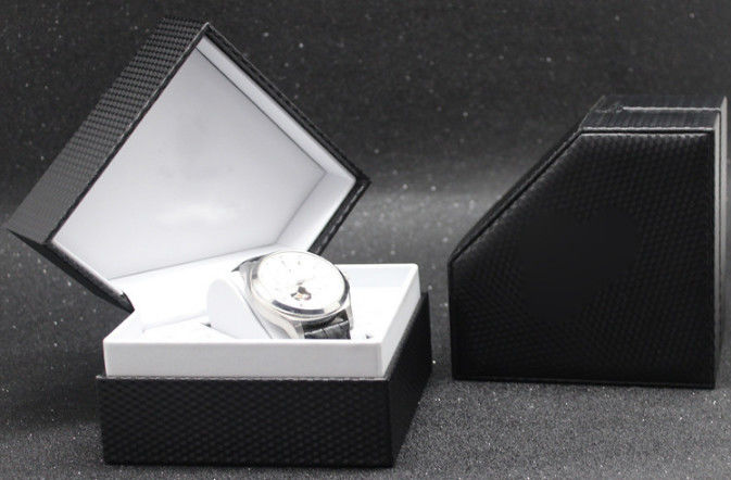 Luxury Mens Watch Gift Box , Plastic+ Black Leather Mens Watch Jewelry Box