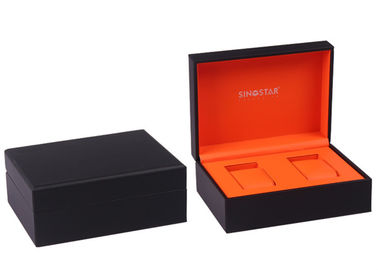 Rectangle Double Watch Box Dengan Bantal Faux Leather Surface Custom Packaing