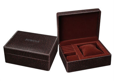 Coklat Kecil Kulit Kecil Kotak Perhiasan, High End Style Rectangle Jewelry Gift Boxes