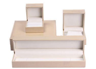 Mode Beige Kulit Kotak Perhiasan Datar, Rectangle Personalized Jewellery Box